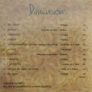 Brassband - Dimensions (Back cover)